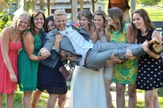 Carrying the groom! #wedding #photography from Edmonds & McKinlay Photography.