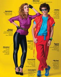 Representação da maneira de se vestir da moda nos anos 80