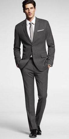 we're thinking dark grey tux, white shirt, with purple vest and