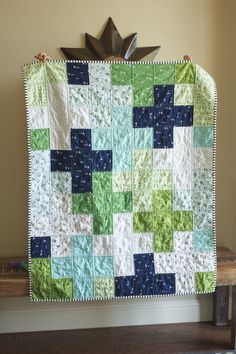 a plus quilt finished! a quilt is nice squares - quick/easy baby quilt} Baby Boy Quilt Patterns, Baby Boy Quilts, Quilt Patterns Free, Patchwork Patterns, Girls Quilts, Sewing Patterns, Scrappy Quilts, Mini Quilts, Owl Quilts
