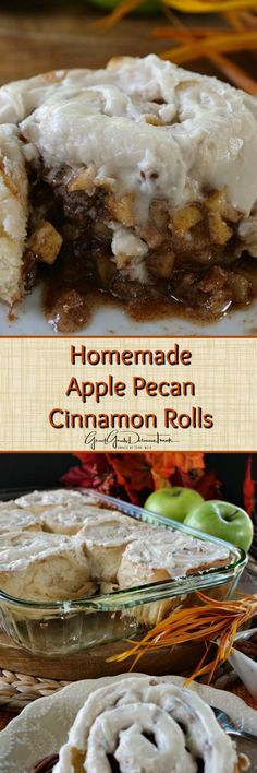 Homemade Apple Pecan Cinnamon Rolls These homemade apple pecan cinnamon rolls are sweet, sticky and loaded with bits of apples and pecans in every bite. Each cinnamon roll is also loaded with a Pecan Cinnamon Rolls, Cinnamon Roll Bread, Best Breakfast Recipes, Breakfast Dishes, Breakfast Ideas, Pecan Desserts, Apple Recipes, Pecan Recipes, Copycat Recipes