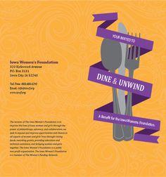 Dine and Unwind Invites by Stephanie Wharton, via Behance Corporate Invitation, Invitation Ideas, Invitations, Iowa, Foundation, Behance, Dining, Food, Save The Date Invitations