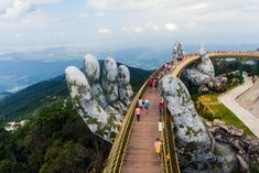🌉 Golden Bridge in Da Nang, Vietnam 😲⁠ ⁠ 🌞 This spectacular bridge supported by two gigantic hands looks like something out of a fantasy universe. ⁠ ⁠ 🗻 The walkway is at the top of the Ba Na Hills, accessible by a cable car ride up the hill. Vacation Trips, Day Trips, Vacation Travel, Vacation Ideas, Aerial Photography, Travel Photography, Beach Photography, Travel Pictures, Travel Photos