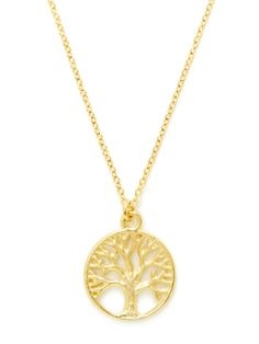 Gold Tree Of Life Pendant Necklace / Ecru / Rs.2161