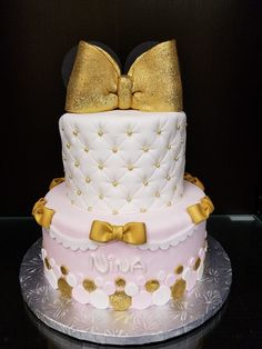 Gold and Pink Minnie Cake for Nina