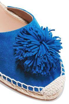 Aquazzura - Sunshine Pompom-embellished Espadrilles - Bright blue