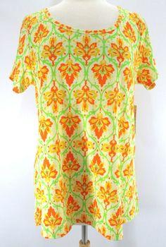 NWT Lularoe Classic T Shirt Small S Dark Blue Green Orange Floral