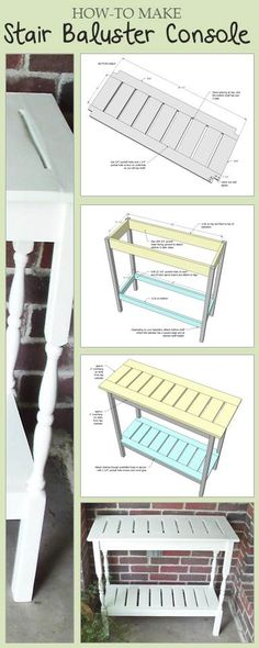 Build a console table with stair balusters! Free step by step plans! #DIY #plans