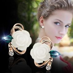Fresh And Charming Rose With Cubic Zirconia Leaf Woman's Stud Earrings - USD $45.95 evermarker.com