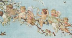 Vintage Fairy babies in a blossom tree digital file by polkyanddot, $3.25