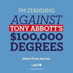 "TODAY @TonyAbbottMHR said that ""we are absolutely persistent"" on the plan for $100,000 degrees #auspol"