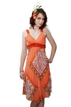 Peach summer dress 70s vintage by VintageStage on Etsy, $28.00