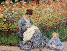 Camille Monet and a Child in the Artist's Garden in Argenteuil, Claude Monet (1840 - 1926, French), I AM A CHILD-children in art history-blog