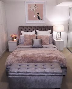 A bedroom is a private sanctuary, a place for rest, relaxation and rejuvenation. Bedroom design ideas should reinforce that feeling … Cute Bedroom Ideas, Girl Bedroom Designs, Room Ideas Bedroom, Small Room Bedroom, Home Decor Bedroom, Living Room Decor, Bedroom Office, Gray Bedroom, Bed Ideas