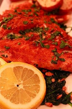 Spice rubbed roasted Salmon with Lemon Garlic Spinach
