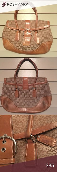 "Coach signature tan satchel handbag Gorgeous Coach satchel handbag, double handles & huge inside pocket, signature tan small Coach design, leather trim with silver metallic trim, 12"" across top, 11"" high, 14"" across bottom, strap height is 7"" from top of bag. Excellent condition! Coach Bags Satchels"