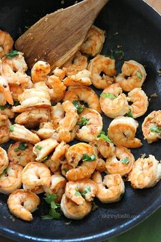 Cilantro Lime Shrimp  Ingredients: 1 1/2 pounds peeled and deveined jumbo shrimp 1/4 teaspoon plus 1/8 teaspoon ground cumin Kosher Salt and freshly ground black pepper 2 teaspoons extra-virgin olive oil 5 garlic cloves, crushed 2 tablespoons lime juice (from 1 medium lime) 3 to 4 tablespoons chopped fresh cilantro  Directions: -Season the shrimp with cumin, and salt and pepper to taste. -Heat a large nonstick skillet over medium-high heat. Add 1 teaspoon of the oil to the pan, then