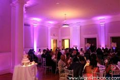 Uplighting for a wedding reception at Carnegie Institution of Science in Washington DC