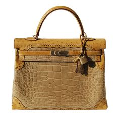 35cm Hermes Matte Poussiere Alligator - Tabac Camel Ostrich - Sesame Lizard Ghillies Kelly Handbag | Permabrass Hardware | Q Stamp
