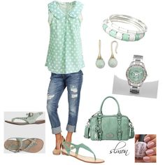 Minty fresh!  Mint green shirt, shoes and accessories with denim.    Mint Dots, created by slmon on Polyvore