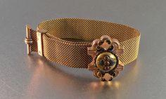 Victorian Mesh Garnet Wedding Bracelet Etruscan Rose Gold