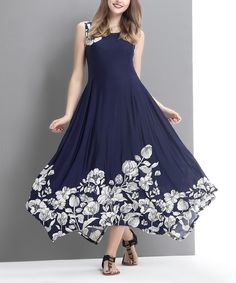Another great find on #zulily! Navy Floral Handkerchief Maxi Dress by Reborn Collection #zulilyfinds
