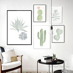 Watercolor succulent Canvas Art Print Painting Poster,  Cactus set Wall Pictures for Home Decoration,  Home Decor - € 5,90 - 11,41