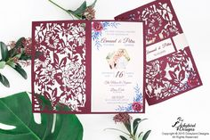 Plum Floral Laser Cut Invitation