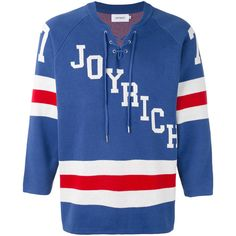 Joyrich hockey knit pullover ($167) ❤ liked on Polyvore featuring men's fashion, men's clothing, men's sweaters, blue, mens knit sweater and mens blue sweater