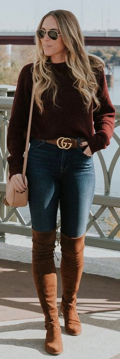 Brown Knit / Navy Skinny Jeans / Brown Velvet OTK Boots