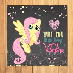 My Little Pony Flutter Shy Valentines Cards Chalkboard Hearts * My Little Pony Valentines Tags * My Little Pony Valentines Party by PartyPrintables37, $2.50 USD