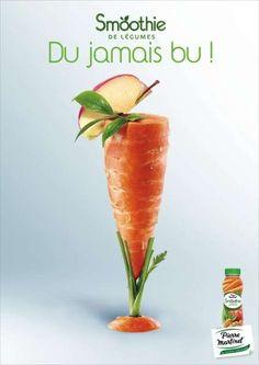 La création du jour par Stratégies : Un smoothie de légumes, du jamais bu. Par Being (TBWA) pour Pierre Martinet