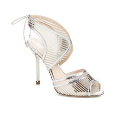 Nicholas Kirkwood 'Wing' Peep Toe Sandal (4.380 RON) ❤ liked on Polyvore featuring shoes, sandals, silver, ankle wrap sandals, ankle tie sandals, stiletto sandals, ankle strap stiletto sandal and high heels stilettos