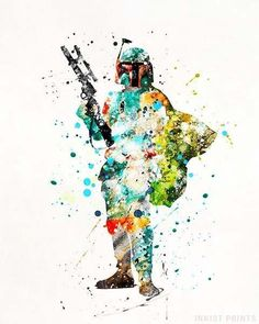 Every watercolor wall art posters by inkist prints. Boba Fett Art, Star Wars Boba Fett, Star Wars Decor, Star Wars Art, Star Wars Prints, Watercolor Print, Watercolor Disney, Watercolor Ideas, Star Wars Poster