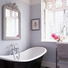 lilac gray bathroom