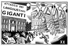 John Broadley - attack of the gigantic langoustines Graphic Illustration, Old School, Illustrators, Weird, Pet Art, Feelings, Drawings, Restaurant, Graphics