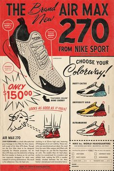 Made a Air Max 270 poster inspired by old school comic book ads. Graphic Design Posters, Graphic Design Typography, Graphic Design Inspiration, Vintage Comics, Vintage Posters, Lps, Nike Poster, Sneaker Posters, Air Max Day