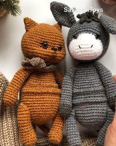Amigurumi patterns crochet cat and donkey, 2 pdf patterns - animalitos tejidos - Crochet Animal Patterns, Pdf Patterns, Crochet Patterns Amigurumi, Stuffed Animal Patterns, Crochet Toys, Knitting Patterns, Cat Crochet, Giraffe Crochet, Crochet Animals