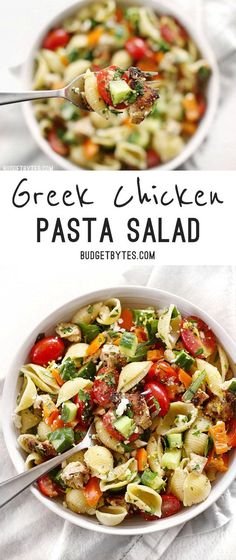 Greek Chicken Pasta Salad is the perfectly refreshing and filling summer meal. Greek Chicken Pasta Salad is the perfectly refreshing and filling summer meal with its medley of vegetables and tangy lemon garlic dressing. Pasta Recipes, Dinner Recipes, Cooking Recipes, Healthy Recipes, Delicious Recipes, Vegetarian Recipes, Vegetarian Diets, Dessert Recipes, Pasta Meals