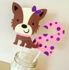 Dog Centerpiece & Polka Dot Number/Initial by ThePaigeSpot on Etsy