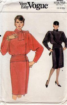 Free Us Ship Sewing Pattern Vogue 9060 Vintage Retro 1980s 80s Wide Shoulder Dolman Sleeve Dress Mock Size 6 8 10 Bust 30.5 31.5 32.5 Uncut by LanetzLiving on Etsy