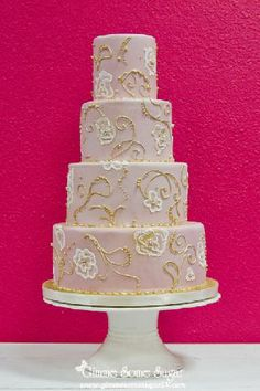 blush pink & gold wedding cake