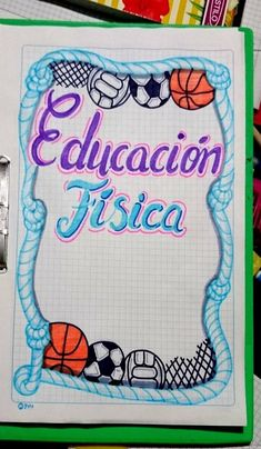 Cover, frames, cover for physical education notebook - Malen - Educación Bullet Journal Month, Bullet Journal Cover Ideas, Bullet Journal Books, Bullet Journal School, Bullet Journal Inspiration, Book Journal, Notebook Art, Notebook Covers, School Notebooks