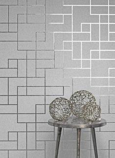 Fine Decor Platinum Square Geo Silver Wallpaper FD42491 | Geometric Wallpaper | Allen Braithwaite