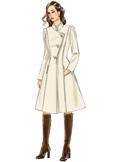 Butterick coat sewing pattern. B6497 Misses'/Misses' Petite Jacket and Coats with Asymmetrical Front and Collar Variations