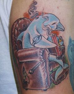 Worst tattoo ever. A dolphin sits in a beat-up recliner while smoking his bong. This is the BEST tattoo ever. Drug Tattoos, Weed Tattoo, Tattoo Fails, Plant Tattoo, Funny Tattoos, Bad Tattoos, Tattoo On, Tribal Tattoos, Cool Tattoos