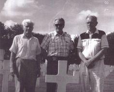 Carwood Lipton, Don Malarkey, and Richard Winters at Skip Muck's grave.