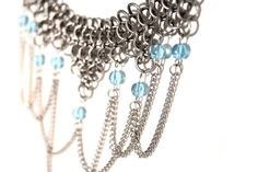 Renaissance Chainmail Necklace With Glass Beads by TangledMetal, $69.00