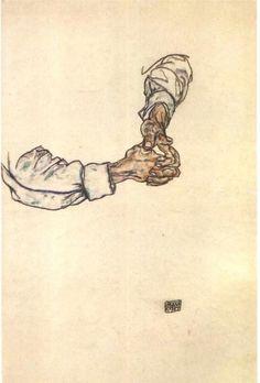 Egon Schiele  Study of hands, watercolour, 1913.