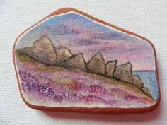 Heather in the highlands - Original miniature painting on Scottish beach pottery by Alienstoatdesigns on Etsy